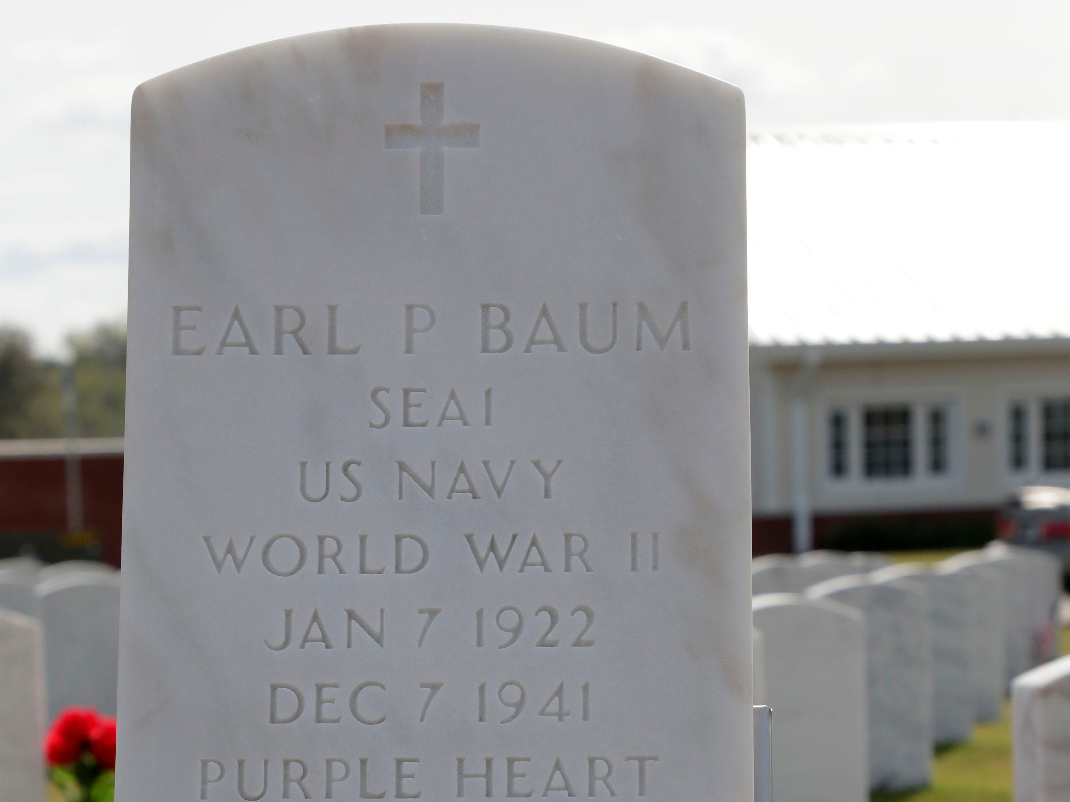 The headstone for Earl Paul Baum, a sailor who was killed in Pearl Harbor. A funeral was held at the Tallahassee National Cemetery honoring Baum Friday, March 8, 2019.