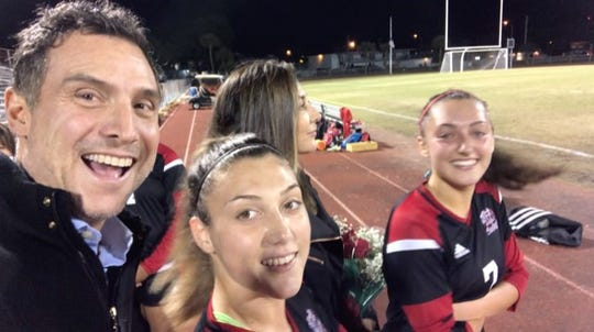 Anthony, Delaney, Megan and Brie D'Elia at Senior Night 2019 for the Vero Beach High School girls soccer team.