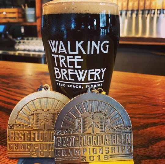Walking Tree Brewery in Vero Beach won silver for its Babycakes Oatmeal Stout at the 2019 Best Florida Beer professional competition. Babycakes won gold last year.