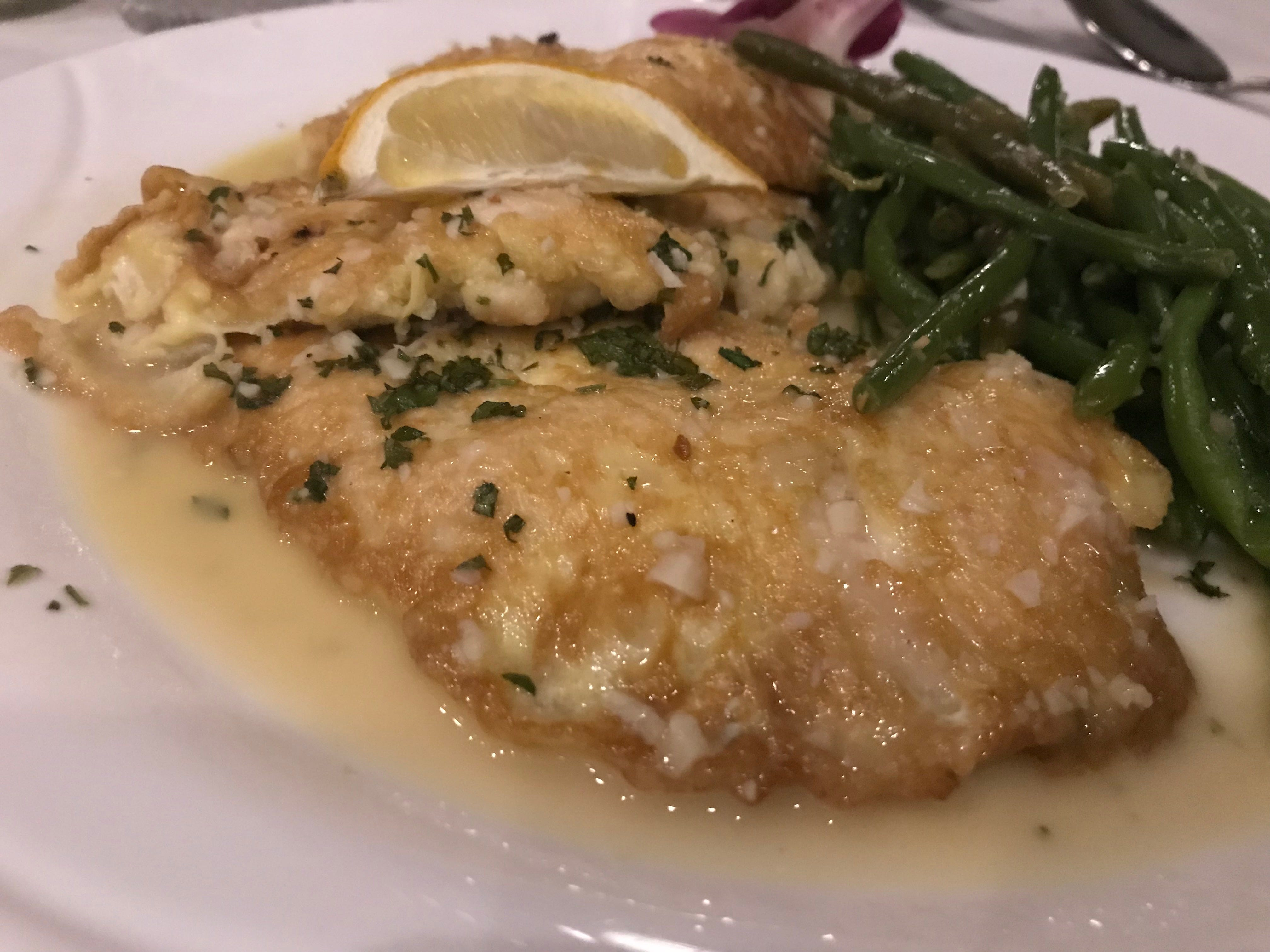 Mamma Mia's chicken francese was covered in a zesty, lemony wine sauce.