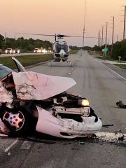 A rollover crash with injuries was reported Friday morning on U.S. 1, north of Fort Pierce.