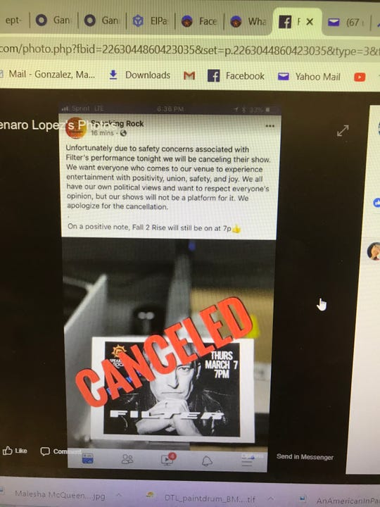 On a Facebook post, Speaking Rock Entertainment Center said it was canceling the Filter show due to safety concerns.