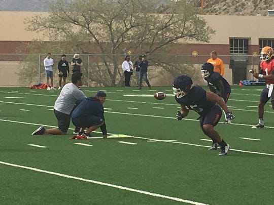 Trent Thompson gets off the line during UTEP spring football practice at Glory Field on Friday, March 8, 2019.
