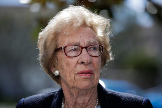Eva Schloss, the stepsister of Anne Frank and a Holocaust survivor, attends a news conference Thursday in Newport Beach over students who were photographed giving Nazi salutes around a swastika formed by drinking cups at a party.