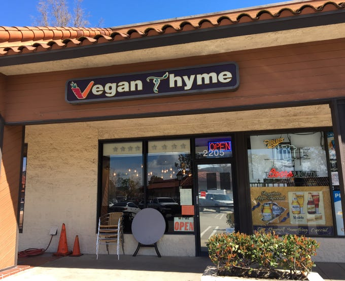 Vegan Thyme is located in the Park Plaza shopping center in Newbury Park. Its owner previously operated Sushi Planet and Exotic Flame at the same address.