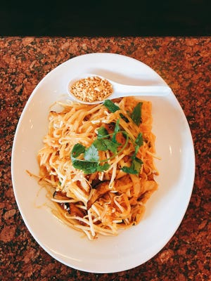 At Vegan Thyme in Newbury Park, pad Thai noodles can be ordered with tofu, soy shrimp or, as seen here, grilled strips of soy chicken. STAR FILE PHOTO/LISA MCKINNON