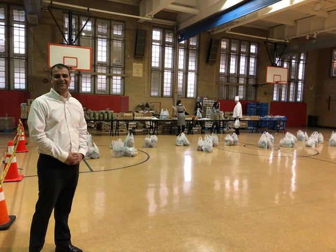 """One of Sodexo's main missions is to stop hunger,"" said Purvesh Patel, the Sodexo district food service director for Vineland Public Schools, shown here at the March 7, 2019 food distribution."