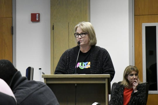 Valley Oak teacher Alysha Owens speaks to board members at the Visalia Unified special board meeting at the district office on Thursday, March 7, 2019.