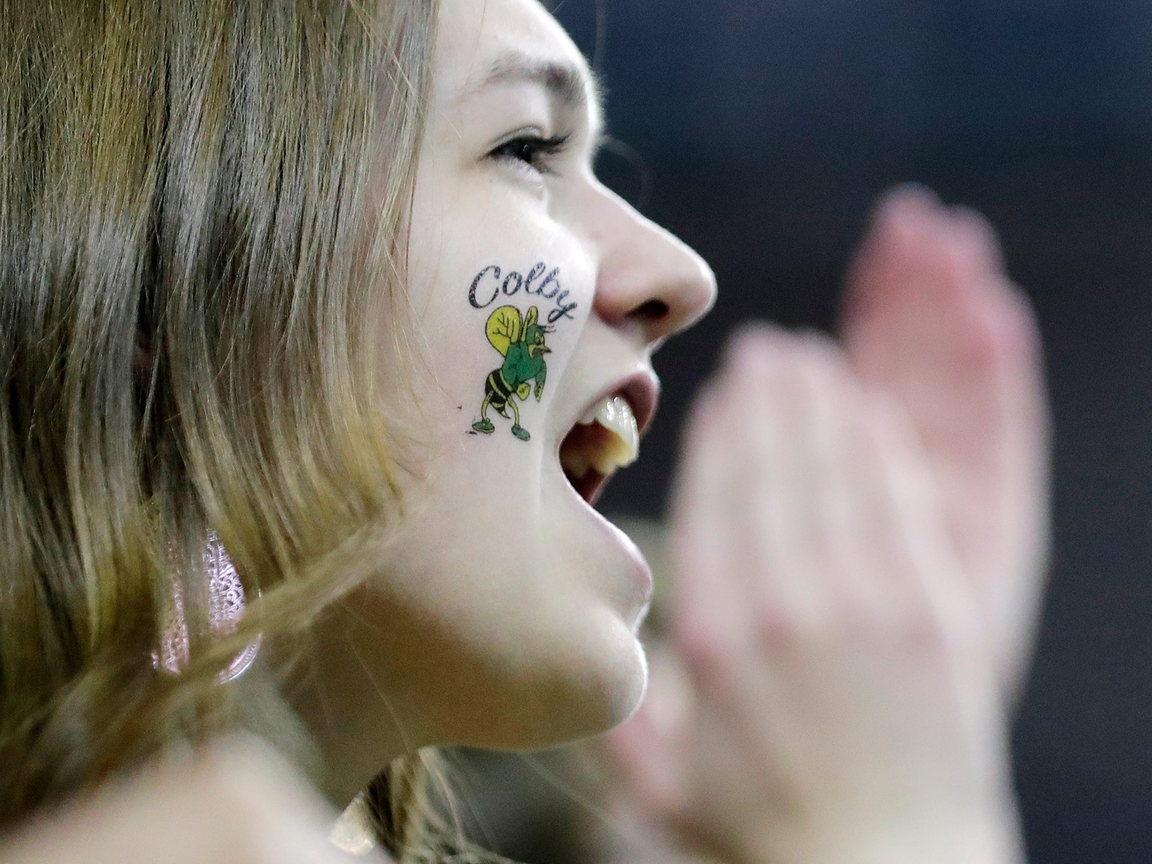Colby fans cheer in the first half of a Division 3 semifinal at the WIAA state girls basketball tournament at the Resch Center on Thursday, March 7, 2019, in Ashwaubenon, Wis.