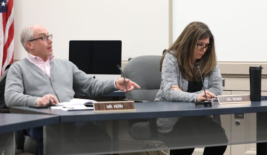 From left, Suffern Central School board members Matthew Kern and Melissa Reimer voted in executive session to vote to suspend Superintendent Douglas Adams during a school board meeting in Hilburn March 7, 2019.
