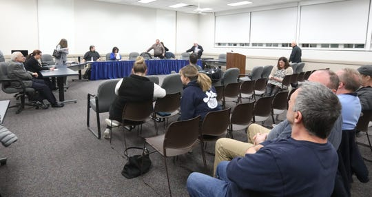 Suffern Central School District board met in executive session to vote to suspend Superintendent Douglas Adams during a school board meeting in Hilburn March 7, 2019.