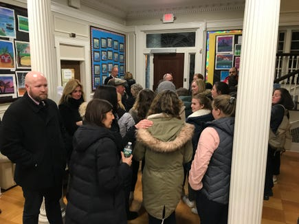Dozens of people attended a Board of Education meeting in support of fired Sleepy Hollow girls basketball assistant coach Ryan Fischer. Mar. 7, 2019.
