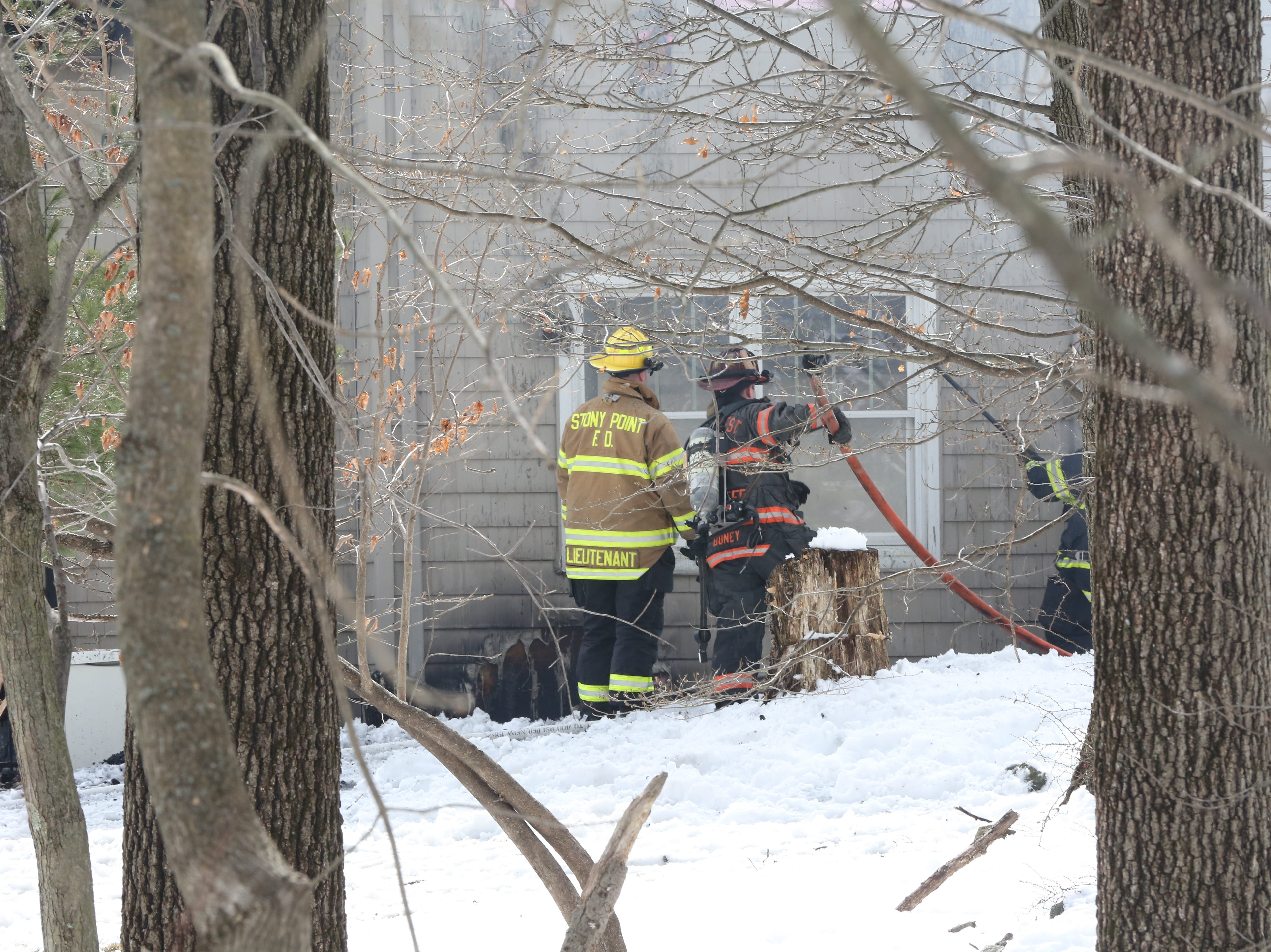 Local Fire companies battle a fire at a home in Tomkins Cove March 8, 2019.
