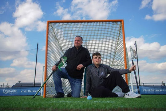 Bill Boyd and his 15-year-old son Billy, a freshman at Cape Henlopen High School, are trying to find an approved lacrosse helmet large enough to fit him.