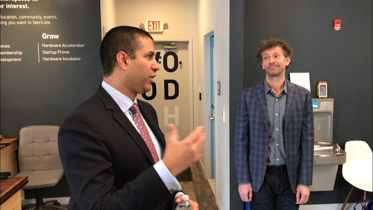 Federal Communications Commission Chairman Ajit Pai speaks at NextFAB, a co-working space in Wilmington, on Friday.