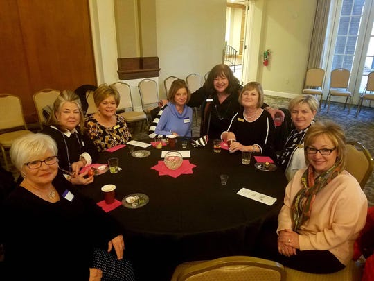 Senior-Junior Forum members had a wonderful time at the Woman's Forum Social Bubbles, Bits, & Bites. It was a gathering to learn more about all the Woman's Forum Departments including the Senior-Junior Forum.  Members left to right: Connie Joyce, Sharon Norton, Sharon McCluskey, Vicki Tigert, SJF President Debbie Berend, Annette Barfield, Delores Culley and Kim Ballard.