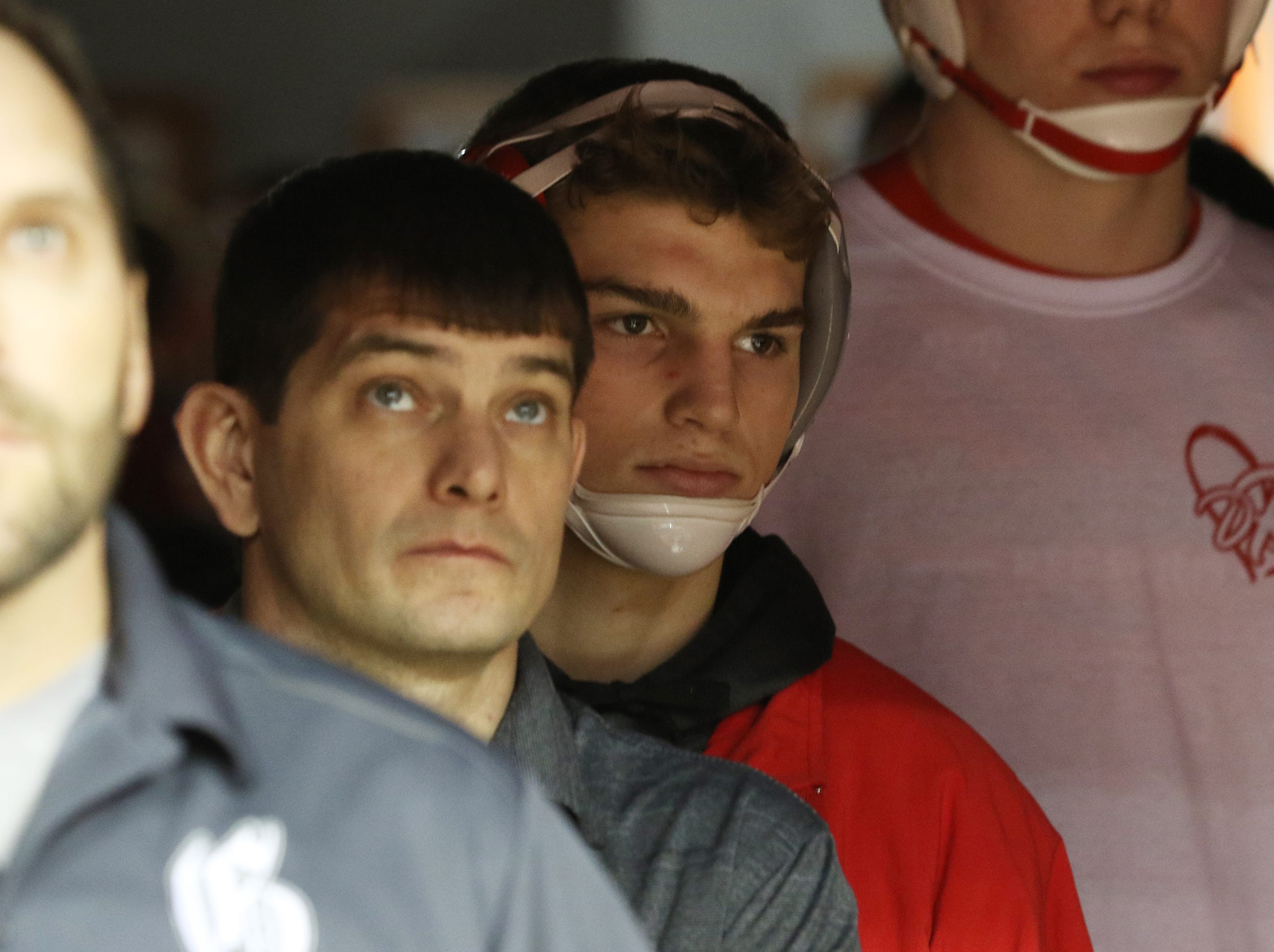 Sheridan's Jordan Barnett waits to wrestle in the consolations at the Division II state wrestling tournament on Friday.