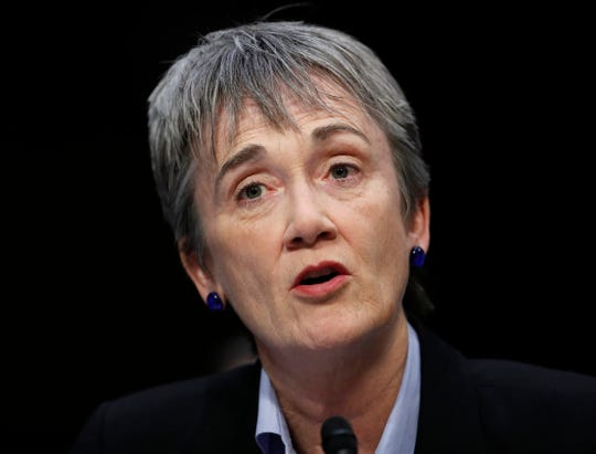 Air Force Secretary Heather Wilson is testifies during a Senate Judiciary Committee hearing on Capitol Hill in Washington. Wilson has resigned.