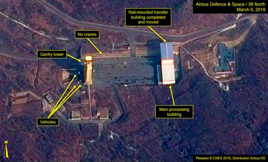 This image provided by Airbus Defence & Space and 38 North via a satellite image from CNES which was captured on March 6, 2019, shows the Sohae Satellite Launch Facility in Tongchang-ri, North Korea. North Korea is restoring facilities at the long-range rocket launch, which it dismantled last year as part of disarmament steps, according to foreign experts and a South Korean lawmaker who was briefed by Seoul's spy service. The finding follows a high-stakes nuclear summit last week between North Korean leader Kim Jong Un and President Donald Trump that ended without any agreement.