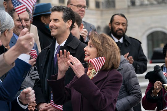 "House Speaker Nancy Pelosi and Rep. John Sarbanes at a Capitol Hill rally on March 8, 2019, just before the House passed the ""For The People Act."""