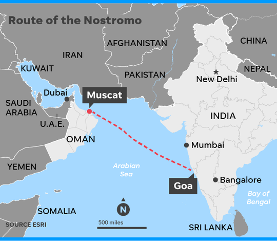 Map shows the route of the ship Nostromo taken by Princess Sheikha Latifa, a member of Dubai's royal family, to escape her father's oppressive treatment. The ship ran into trouble off the coast of Goa, India.