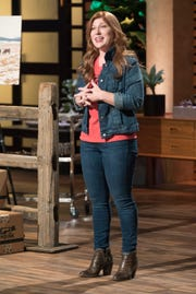 """Lucinda Cramsey, an entrepreneur from Labelle, Missouri, familiarizes the Sharks with her ethical and customizable meat  subscription delivery service on """"Shark Tank."""""""