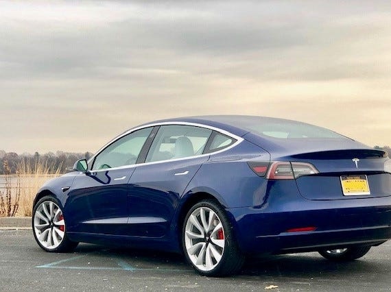Kristy Eisele says she loved her Model S experience so much, she bought a Model 3 last November in Deep Blue Metallic with 19-inch Sport wheels and black and white interior.