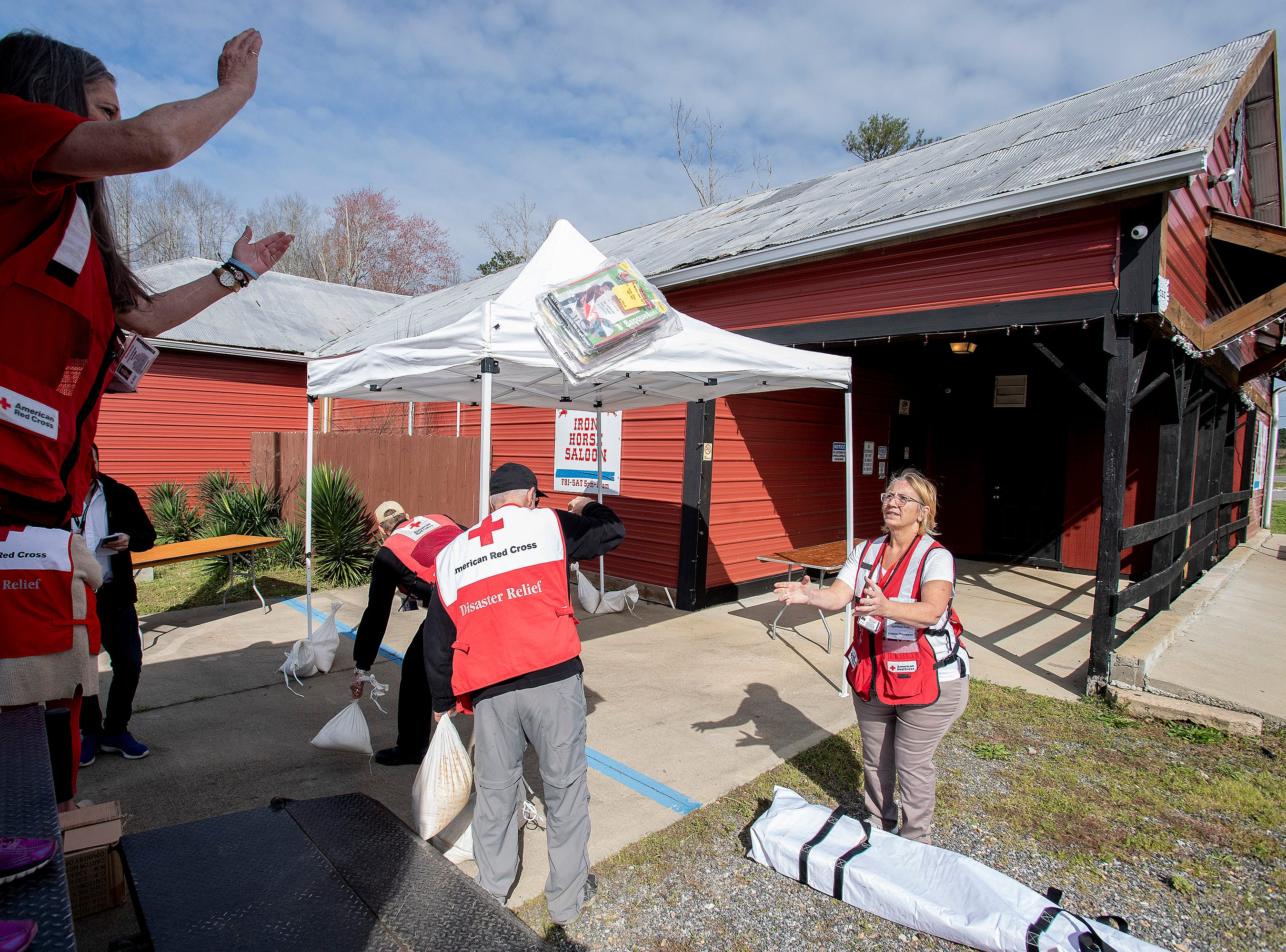 The Red Cross sets up a station at the Iron Horse Saloon in Beauregard, Ala., on Friday March 8, 2019.