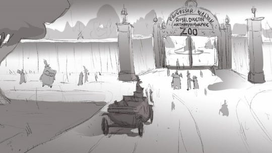 "The carriage pulls up to ""The Anthropomorphic Zoo."""