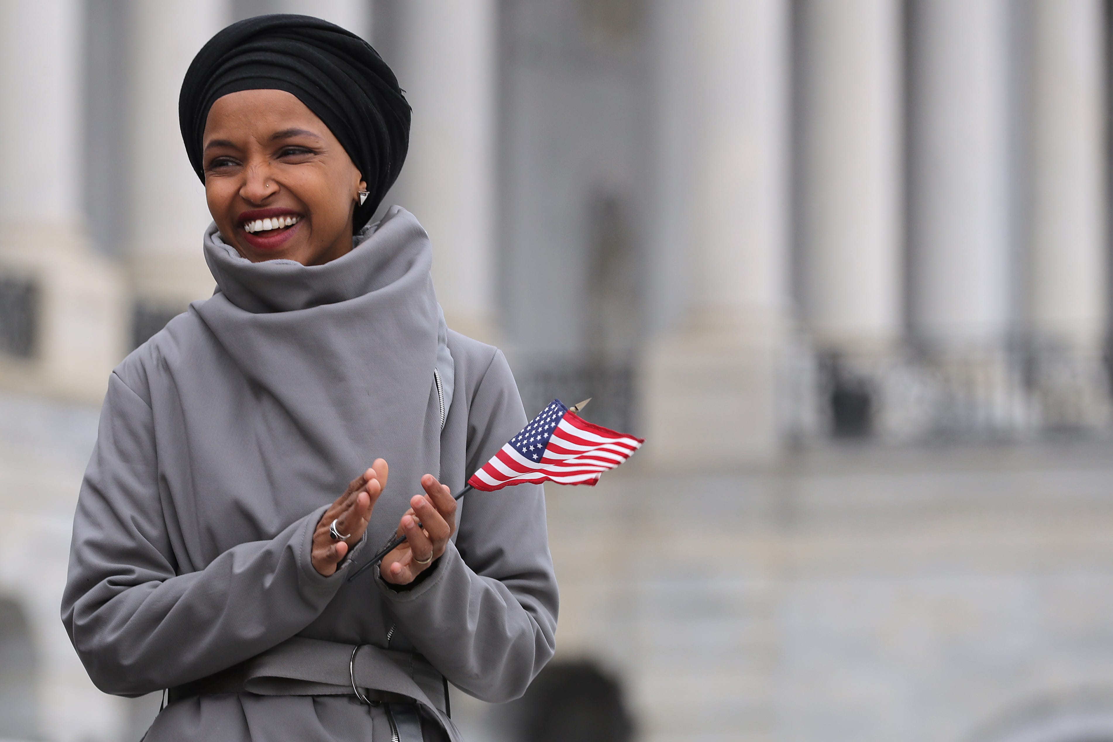 Rep. Ilhan Omar (D-MN) rallies with fellow Democrats before voting on H.R. 1, or the People Act, on the East Steps of the U.S. Capitol, March 08, 2019.