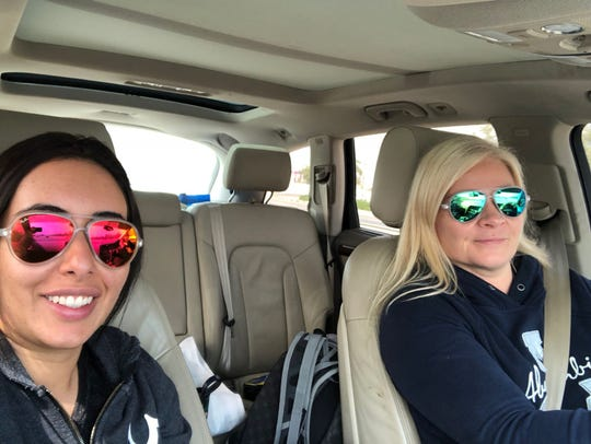 Princess Latifa, left, and Tiina Jauhiainen appear in a selfie while driving in Oman.
