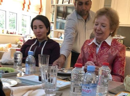 Princess Latifa, left, and Mary Robinson, Ireland's former president, in Dubai. The photo was released on Christmas Eve 2018. At this point, Latifa had not been seen in public for nine months.