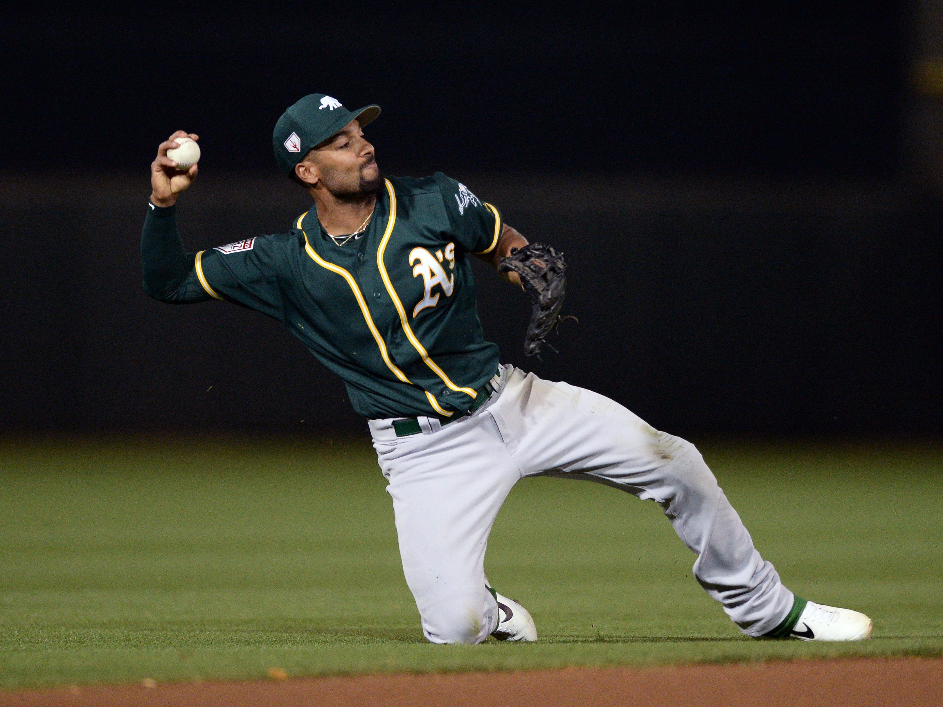 March 7: Oakland Athletics shortstop Marcus Semien (10) throws from his knee during a game against the San Francisco Giants.
