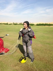 Princess Latifa after a skydive in Dubai on May 12, 2013.