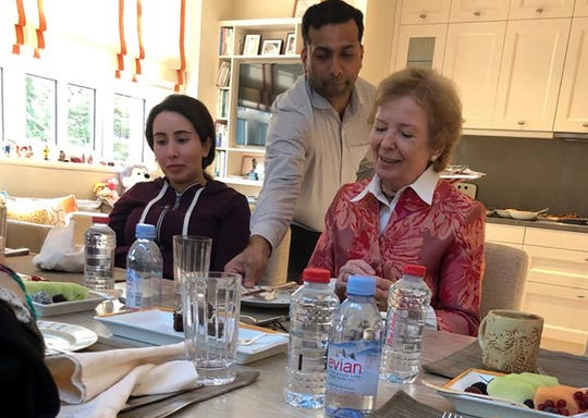 Princess Latifa, left, with Mary Robinson, former president of Ireland, in Dubai, United Arab Emirates, on December 24, 2018.