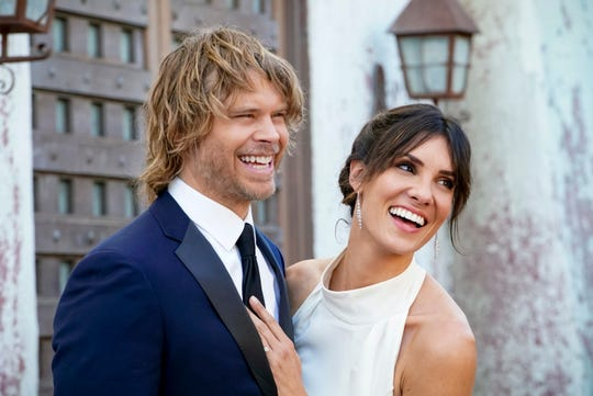 After the push and pull of many investigations, 'NCIS: Los Angeles' agents Kensi (Daniela Ruah), right, and Deeks (Eric Christian Olsen) tie the knot in Sunday's episode of the CBS procedural.