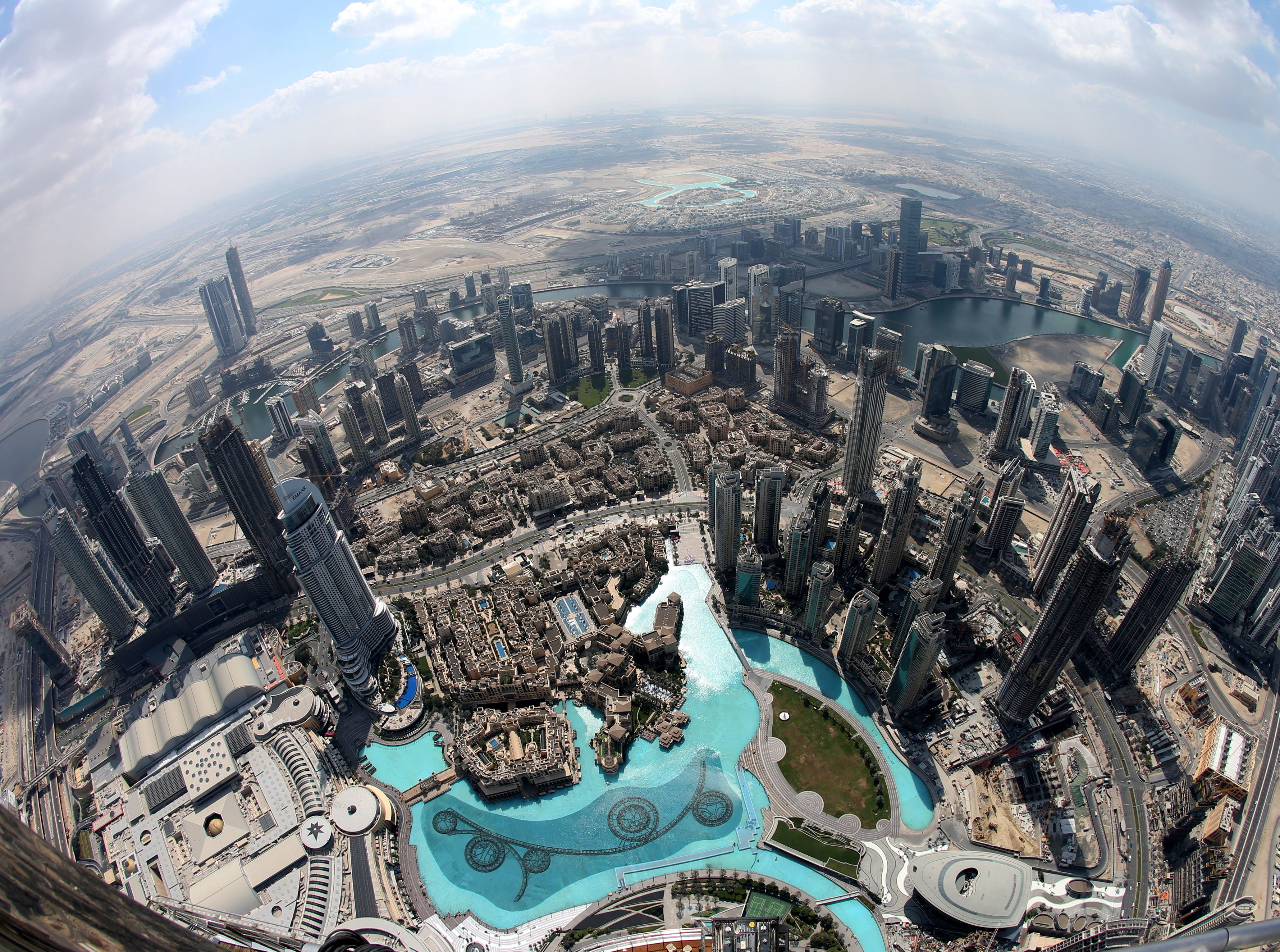 A picture taken with a fisheye lens shows areas close to the world's tallest building, Burj Khalifa, in Dubai, United Arab Emirates, on Feb. 13, 2019.