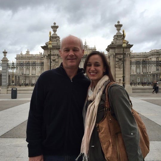 The author and her father, Scott Denny, in Madrid, Spain, in 2016.