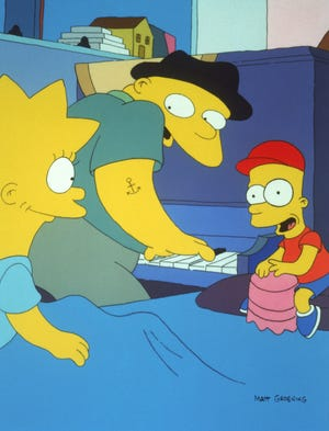 "Michael Jackson voiced Leon Kompowsky (center), a man who claimed to be Michael Jackson in 'Stark Raving Dad,' an episode of ""The Simpsons"" from 1991."