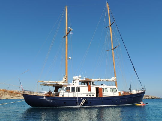 """The """"Nostromo"""" sailing yacht, seen here in Lindos, Greece."""
