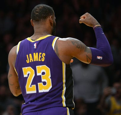 0c8b11da7e5a LeBron James  Lakers debut features dunks