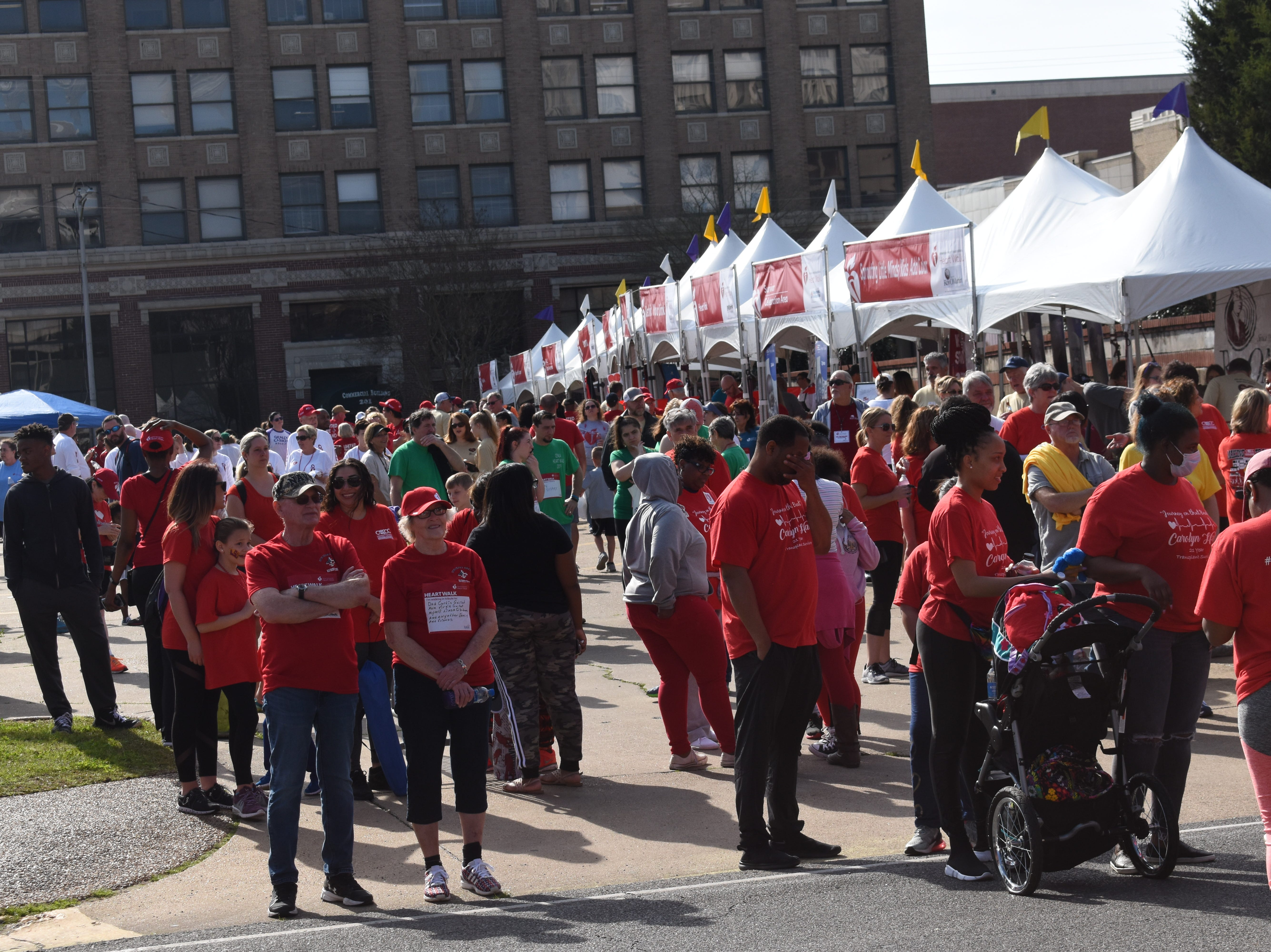 Over 4,000 people participated in events held for the 2019 Cenla Heart Walk in downtown Alexandria held Saturday, March 9, 2019. As of Saturday afternoon, over $218,051 was raised with the goal amount being $230,000. The top companies at the time were RoyOMartin with $35,497; Rapides Regional Medical Center with $31,602 and Southern Heritage Bank with $12,860. The top teams were Rapides Regional Medical Center with $31,577; RoyOMartin with $28,938 and Southern Heritage Bank with $12,005. Top fundraisers were Tina Greer with $6,973; Micah Walker with $5,165 and Anthony Bunting with $5,000.