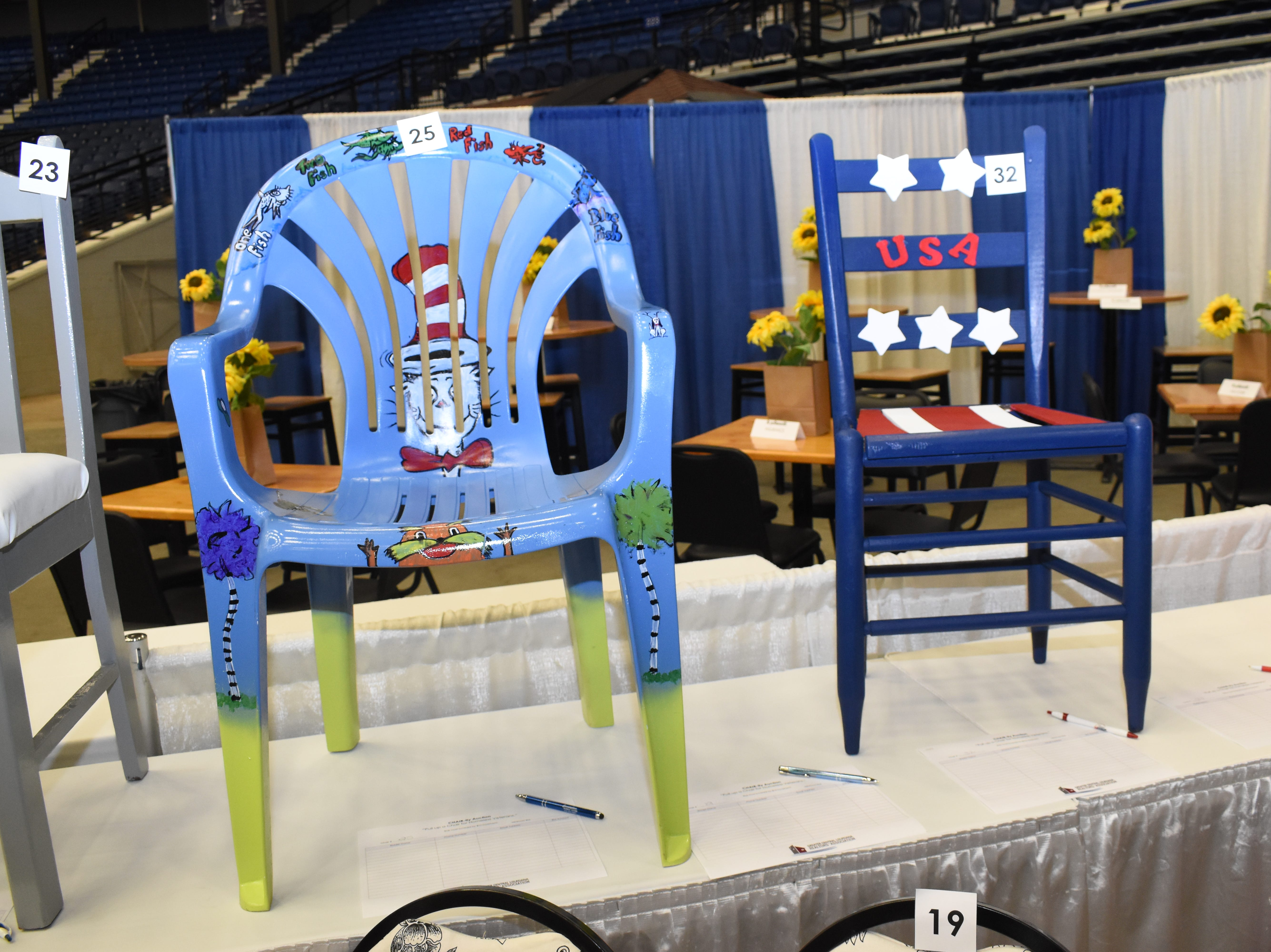 "Greater Central Louisiana Realtors Association decided to help homeless veterans in the community by hosting a ""chair-ity."" Members of the association, their affiliates and members of the community decorates and painted over 30 chairs for auction. Some chairs were auctioned off Friday at the kickoff for the Central Louisiana Home Builders Home and Product Show set for Saturday and Sunday at the Rapides Parish Coliseum. There will be a silent auction for the remaining chairs during the Home and Product Show. The show opens at 10 a.m and will offer a look at garden designs home construction, interior design and outdoor equipment."