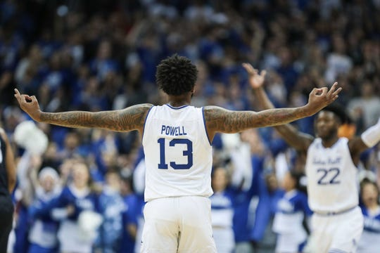 Seton Hall Pirates guard Myles Powell (13) celebrates a three point basket with guard Myles Cale (22) during the first half against the Villanova Wildcats at Prudential Center. Mandatory Credit: Vincent Carchietta-USA TODAY Sports