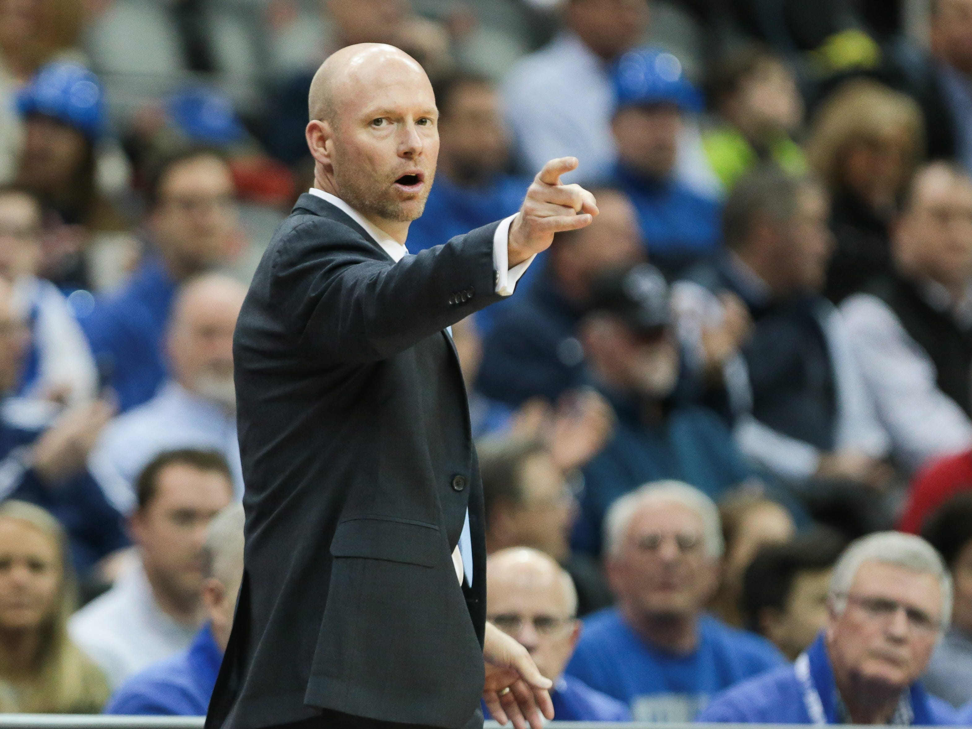 Seton Hall Pirates head coach Kevin Willard points during the first half against the Marquette Golden Eagles at Prudential Center.