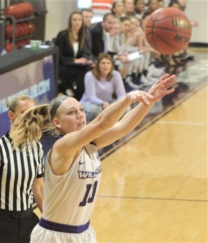 ACU's Breanna Wright shoots a 3-point goal in the first quarter against Incarnate Word. ACU won the Southland Conference game 102-53 to wrap up the regular season Saturday, March 9, 2019, at Moody Coliseum.