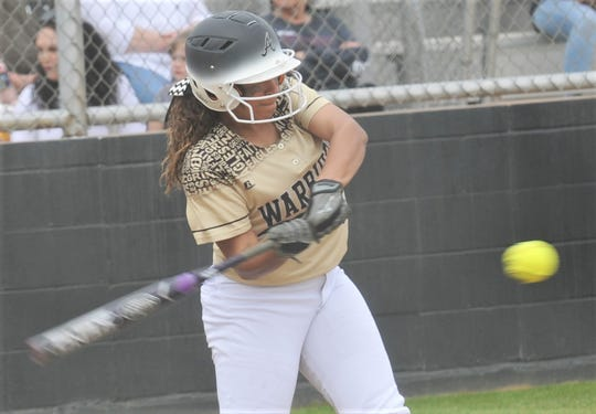 Abilene High's Jaiden Franklin hits a two-run single in the second inning against San Angelo Central. The Lady Eagles beat Central 6-1 in the District 3-6A game Friday, March 8, 2019, at the AHS softball field.