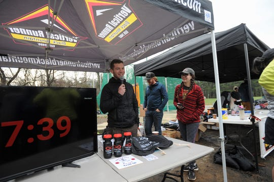 Vertical Runner Black Mountain owner Shaun Pope addresses runners of the Throwing Bones 5K, at the Montreat College Black Mountain campus, on March 9.