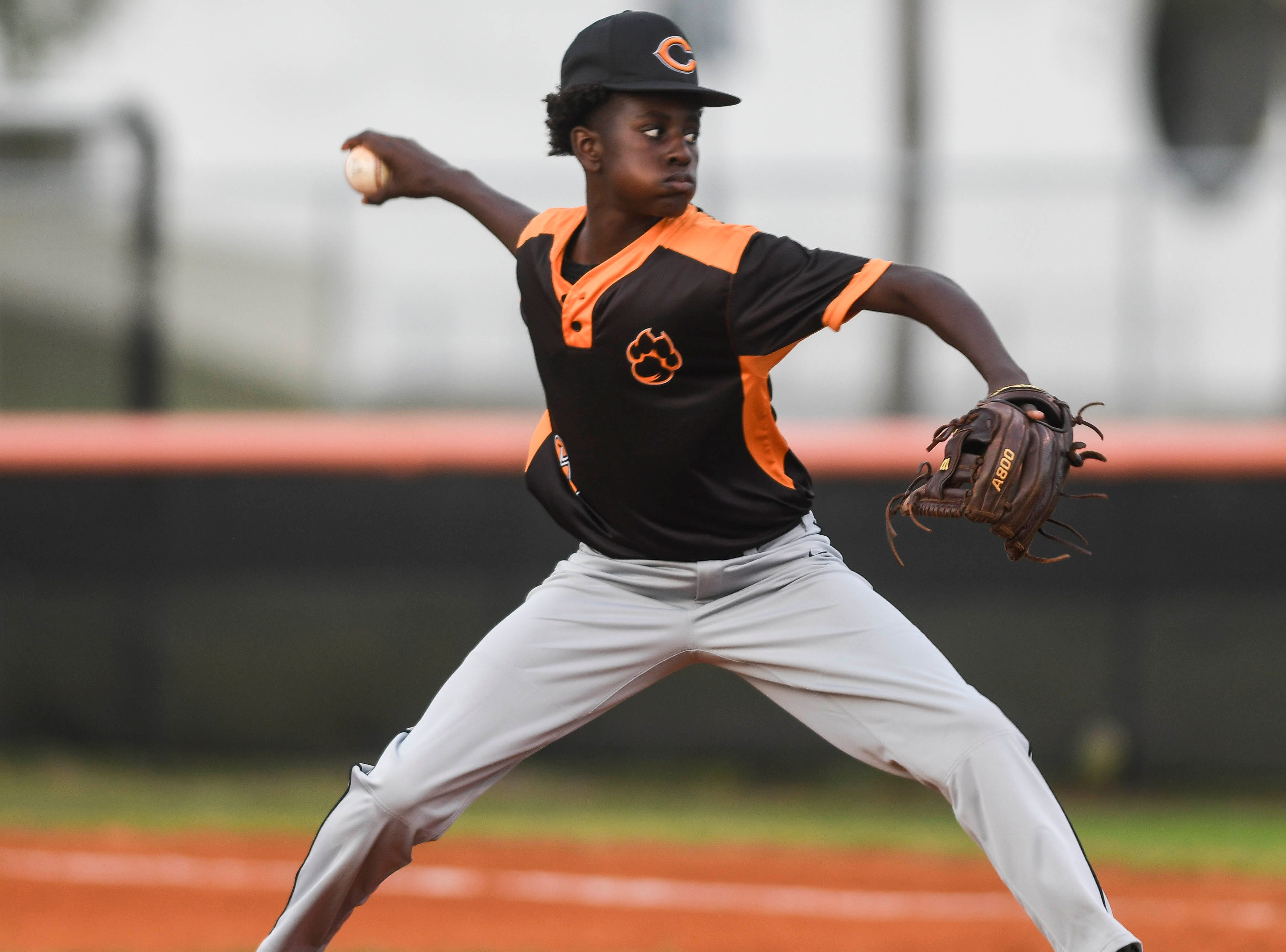 Ahmarion James-Williams pitches for Cocoa during Friday's game against Titusville.