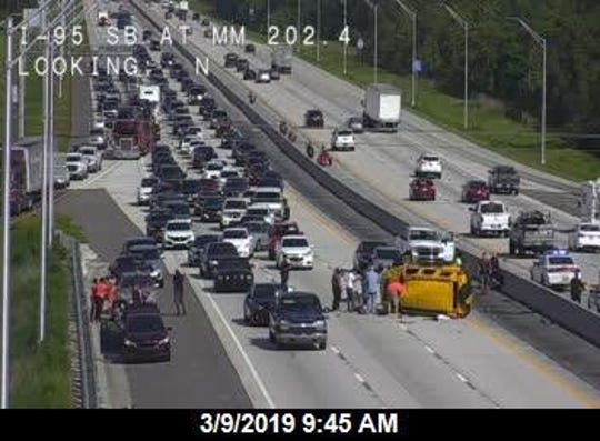 Rollover crash on southbound I-95 near SR 524